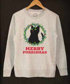 Printed Sweatshirt-Merry Purrismas (Black Cat), Women
