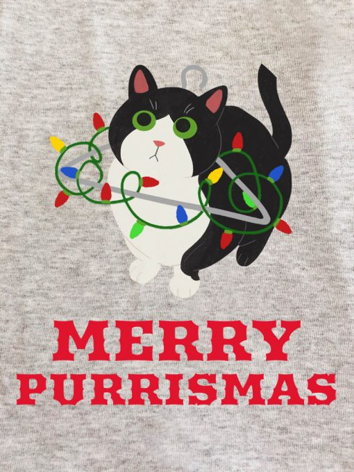 Printed Sweatshirt-Merry Purrismas (Tuxedo Cat)