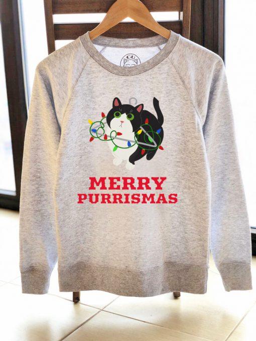 Printed Sweatshirt-Merry Purrismas (Tuxedo Cat), Women