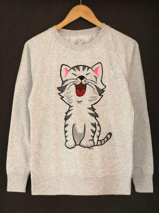 Hand painted Sweatshirt-Happy Cat, Women