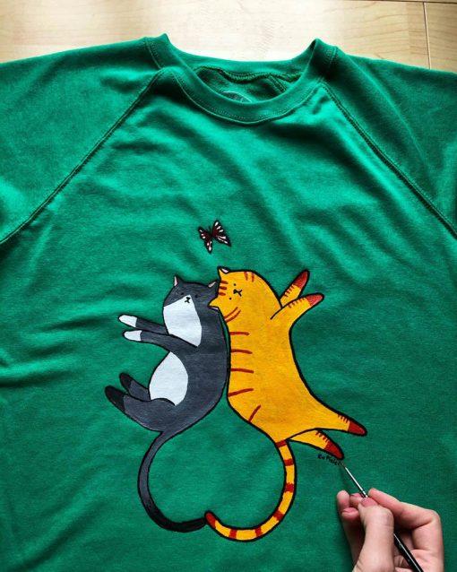 Hand painted Sweatshirt-Cats in Love, Women