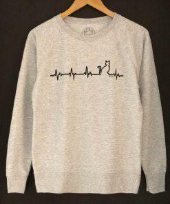 Hand painted Sweatshirt-Hearbeat Cat, Women