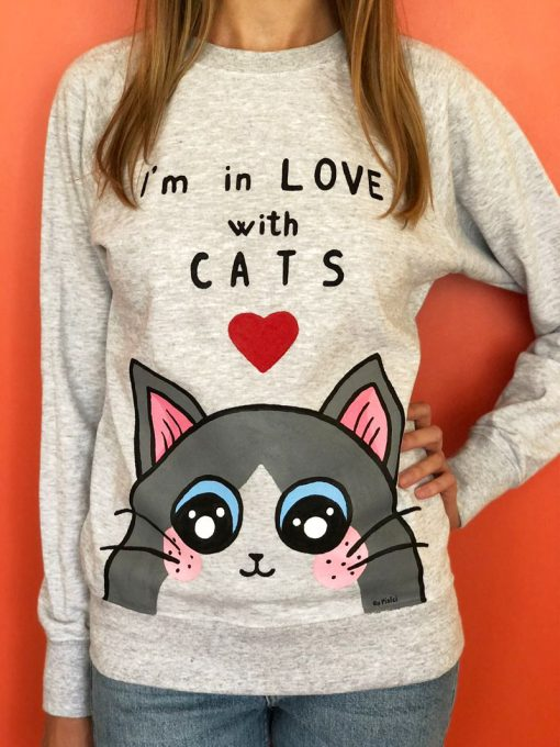 Hand painted Sweatshirt-I'm in love with Cats