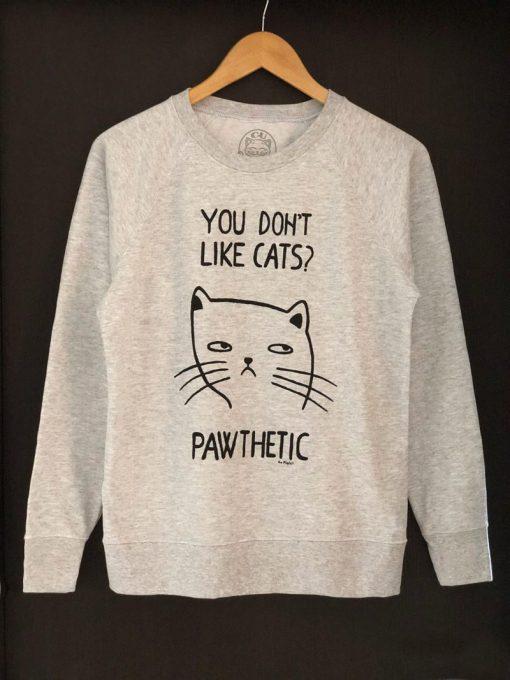 Hand painted Sweatshirt-Pawthetic Cat, Women