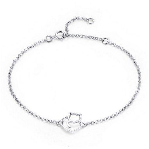 Adorable Cat Silver Bracelet