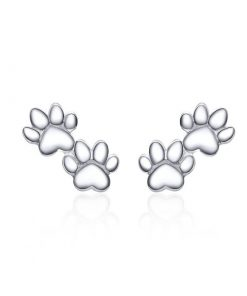 Two Cat Paws Silver Earrings