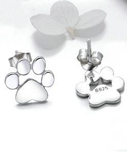 Cat Paw Silver Earrings