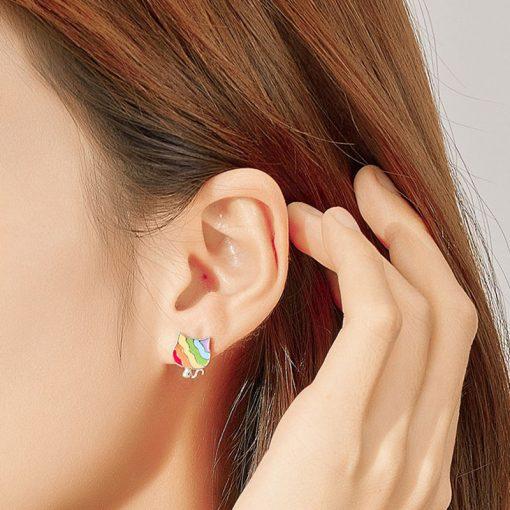 Rainbow Cat Silver Earrings