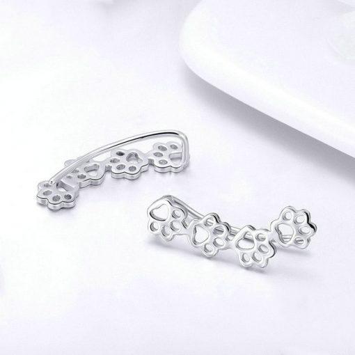 Cat Paws Silver Earrings