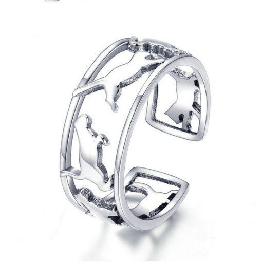 Walking Cats Silver Ring