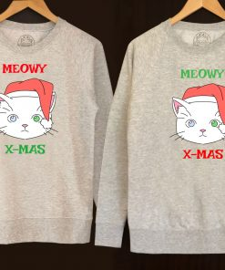 Printed Sweatshirts-Meowy X-Mas for Him and Her