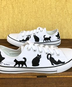 Hand painted Sneakers-Cats in Black