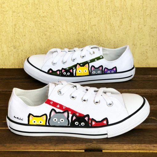Hand painted Sneakers-Joyful Cats