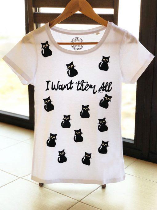 Hand painted T-shirt-13 Lucky Cats, Women