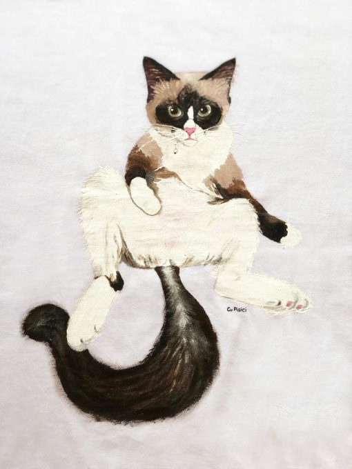 Custom hand painted T-shirt- Lazy Cat Portrait