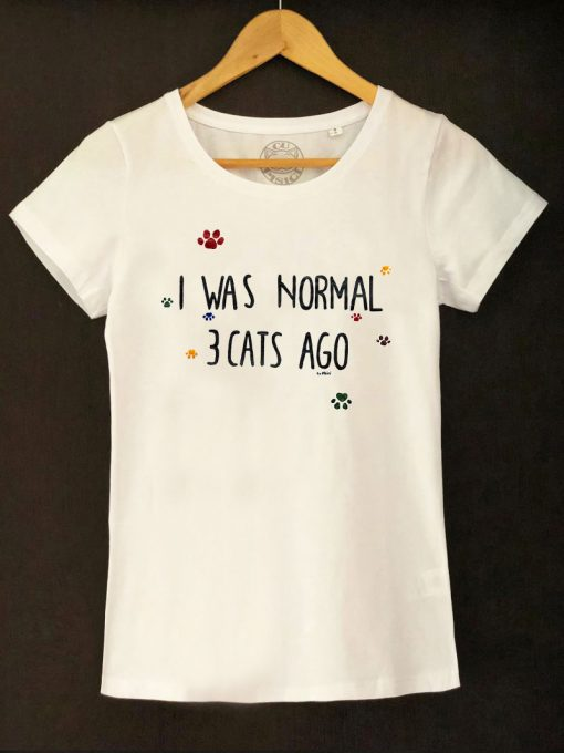 Hand painted T-shirt-I was normal 3 Cats Ago (White), Women