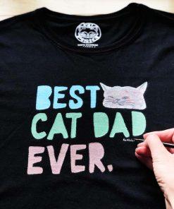 Hand painted T-shirt-BEST CAT DAD, Men