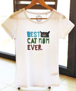 Hand painted T-shirt-Best Cat Mom, Women