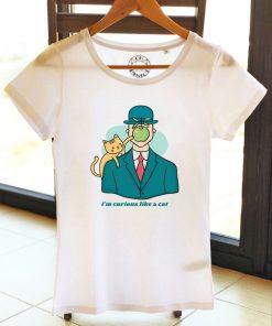Organic cotton T-shirt-Curious like a Cat, Women