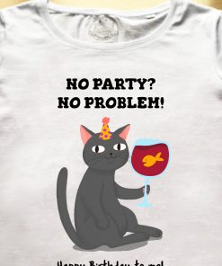 Organic cotton T-shirt- Happy Birthday (Black Cat), Women