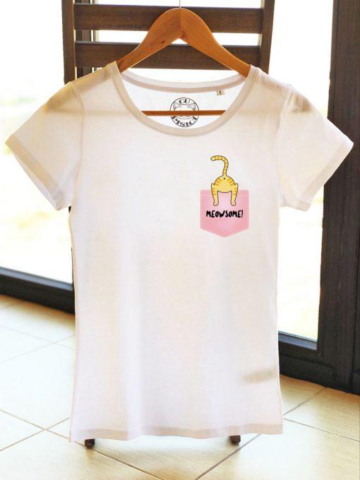 Organic cotton T-shirt-Meowsome Ginger Cat, Women