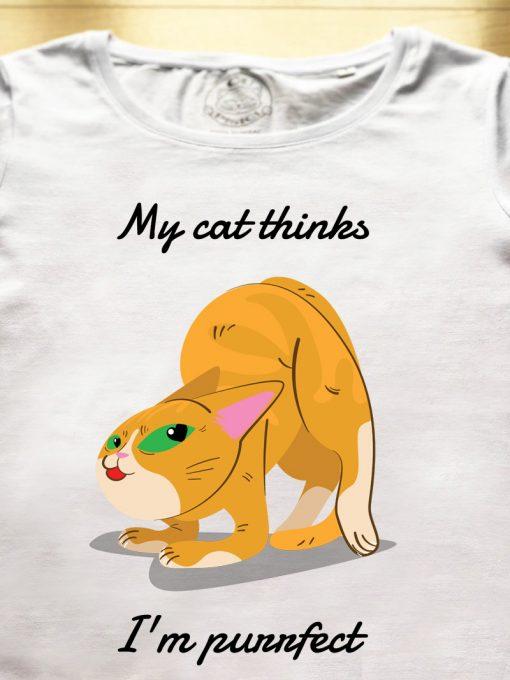 Organic cotton T-shirt- My cat thinks I'm purrfect, Women