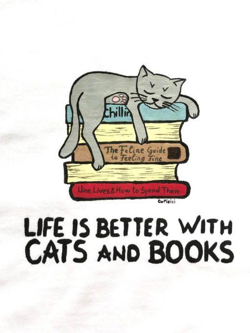 Hand painted T-shirt- Cats & Books, Women
