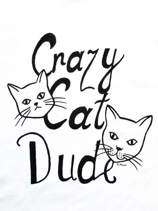 Hand painted T-shirt-Crazy Cat Dude, Men