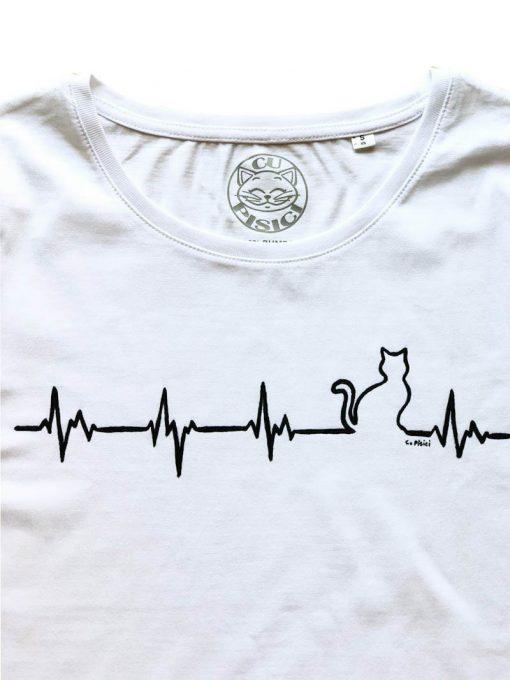 Hand painted T-shirt-Heartbeat Cat, Women