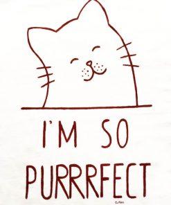 Hand painted T-shirt-I'm so Purrrfect (White), Women