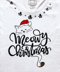 Hand painted T-shirt-Meowy Christmas and Paws, Women