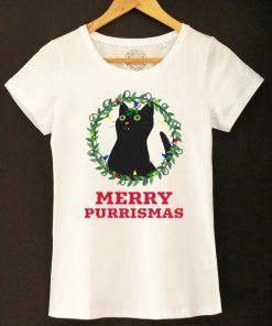 Organic cotton T-shirt-Merry Purrismas (Black Cat), Women
