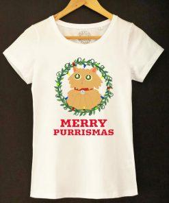 Organic cotton T-shirt-Merry Purrismas (Ginger Cat), Women