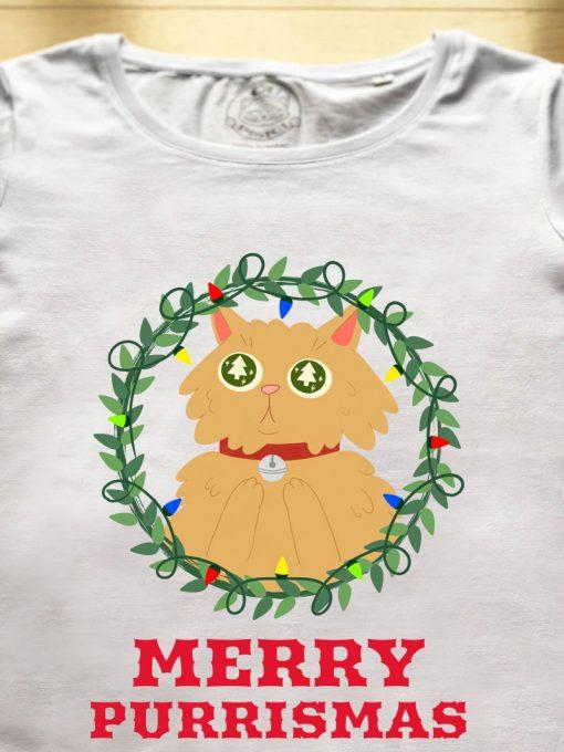 Organic cotton T-shirt-Merry Purrismas (Ginger Cat),