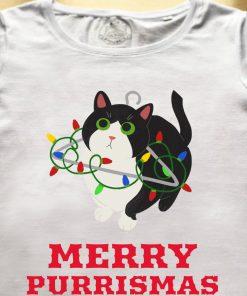 Organic cotton T-shirt-Merry Purrismas (Tuxedo Cat)