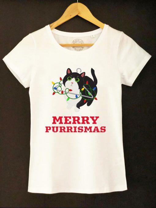 Organic cotton T-shirt-Merry Purrismas (Tuxedo Cat), Women