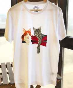 Custom hand painted T-shirt-Two Cats Portrait, Men