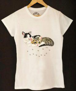 Custom hand painted T-shirt-Two Cats Portrait, Women