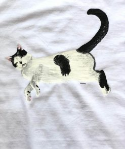 Custom hand painted T-shirt-Sleepy Cat Portrait