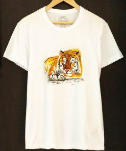 Custom hand painted T-shirt-Tiger Portrait