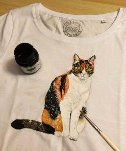 Custom hand painted T-shirt-Calico Cat Portrait