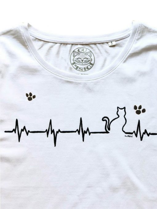 Hand painted T-shirt-Heartbeat Cat and Paws, Women