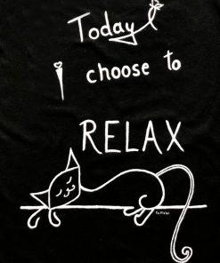 Hand painted T-shirt-Lazy Cat (Black), Women