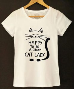 Hand painted T-shirt Crazy Cat Lady (White), Women