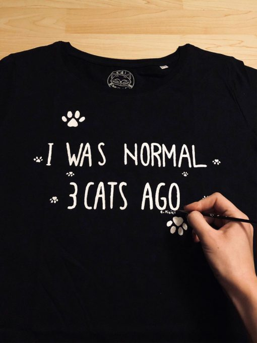 Hand painted T-shirt-I was normal 3 Cats Ago (Black), Women