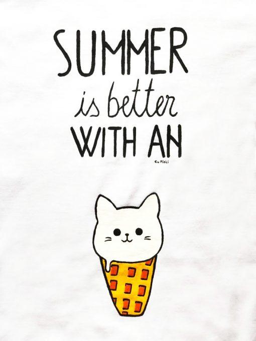 Hand painted T-shirt-Icecream Cat, Women