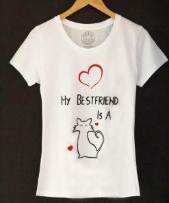 Hand painted T-shirt-Cat, The best friend, Women