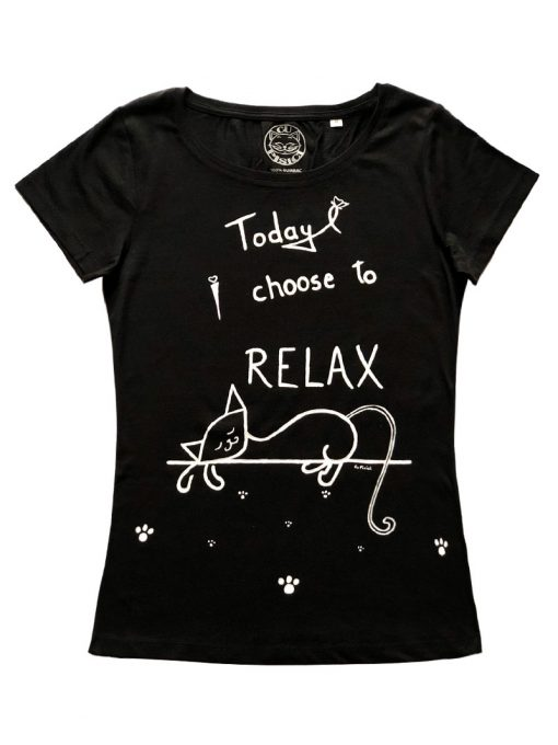 Hand painted T-shirt-Lazy Cat and Paws, Women