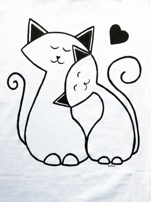 Hand painted T-shirt-Cats in love, Women