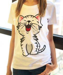 Hand painted T-shirt-Happy Cat, Women